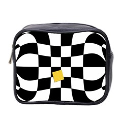 Dropout Yellow Black And White Distorted Check Mini Toiletries Bag 2 Side by designworld65