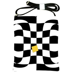 Dropout Yellow Black And White Distorted Check Shoulder Sling Bags by designworld65