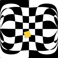 Dropout Yellow Black And White Distorted Check Magic Photo Cubes by designworld65