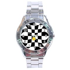 Dropout Yellow Black And White Distorted Check Stainless Steel Analogue Watch by designworld65