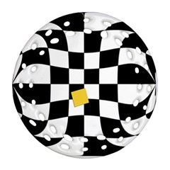 Dropout Yellow Black And White Distorted Check Round Filigree Ornament (2side) by designworld65