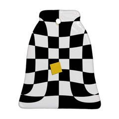 Dropout Yellow Black And White Distorted Check Bell Ornament (2 Sides) by designworld65