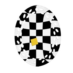 Dropout Yellow Black And White Distorted Check Ornament (oval Filigree)  by designworld65