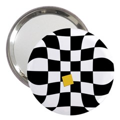 Dropout Yellow Black And White Distorted Check 3  Handbag Mirrors by designworld65