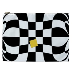 Dropout Yellow Black And White Distorted Check Cosmetic Bag (xxl)  by designworld65