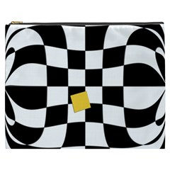 Dropout Yellow Black And White Distorted Check Cosmetic Bag (xxxl)  by designworld65