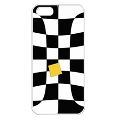 Dropout Yellow Black And White Distorted Check Apple Iphone 5 Seamless Case (white) by designworld65
