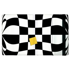 Dropout Yellow Black And White Distorted Check Apple Ipad 2 Flip Case by designworld65