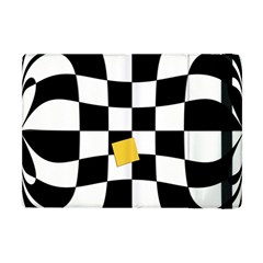 Dropout Yellow Black And White Distorted Check Apple Ipad Mini Flip Case by designworld65