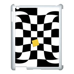 Dropout Yellow Black And White Distorted Check Apple Ipad 3/4 Case (white) by designworld65