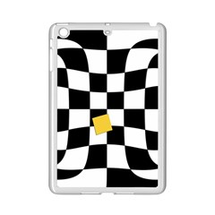 Dropout Yellow Black And White Distorted Check Ipad Mini 2 Enamel Coated Cases by designworld65