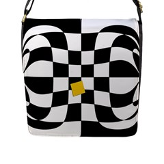 Dropout Yellow Black And White Distorted Check Flap Messenger Bag (l)  by designworld65