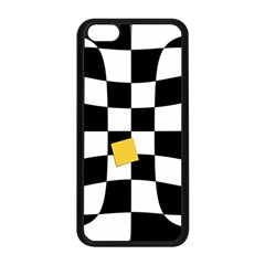 Dropout Yellow Black And White Distorted Check Apple Iphone 5c Seamless Case (black) by designworld65