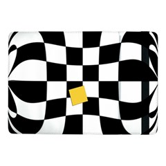 Dropout Yellow Black And White Distorted Check Samsung Galaxy Tab Pro 10 1  Flip Case by designworld65