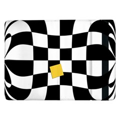 Dropout Yellow Black And White Distorted Check Samsung Galaxy Tab Pro 12 2  Flip Case by designworld65