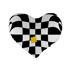 Dropout Yellow Black And White Distorted Check Standard 16  Premium Flano Heart Shape Cushions by designworld65