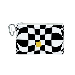Dropout Yellow Black And White Distorted Check Canvas Cosmetic Bag (s) by designworld65