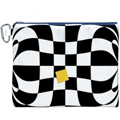 Dropout Yellow Black And White Distorted Check Canvas Cosmetic Bag (xxxl) by designworld65