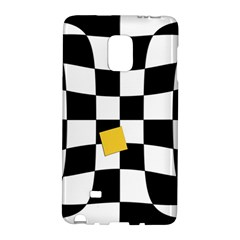 Dropout Yellow Black And White Distorted Check Galaxy Note Edge by designworld65