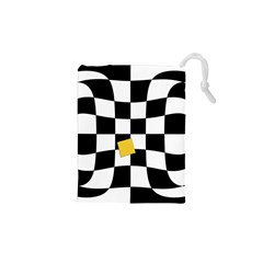 Dropout Yellow Black And White Distorted Check Drawstring Pouches (xs)  by designworld65