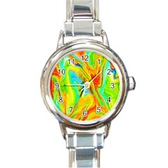Happy Multicolor Painting Round Italian Charm Watch by designworld65