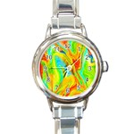 Happy Multicolor Painting Round Italian Charm Watch