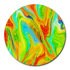 Happy Multicolor Painting Round Mousepads by designworld65