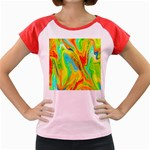 Happy Multicolor Painting Women s Cap Sleeve T-Shirt