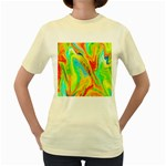 Happy Multicolor Painting Women s Yellow T-Shirt