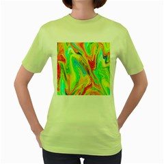 Happy Multicolor Painting Women s Green T Shirt by designworld65