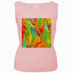 Happy Multicolor Painting Women s Pink Tank Top by designworld65