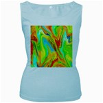 Happy Multicolor Painting Women s Baby Blue Tank Top