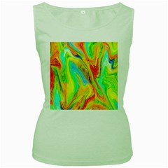 Happy Multicolor Painting Women s Green Tank Top by designworld65