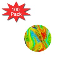 Happy Multicolor Painting 1  Mini Buttons (100 Pack)  by designworld65