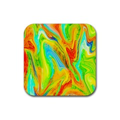Happy Multicolor Painting Rubber Square Coaster (4 Pack)  by designworld65