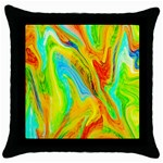 Happy Multicolor Painting Throw Pillow Case (Black)