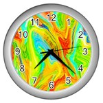 Happy Multicolor Painting Wall Clocks (Silver)