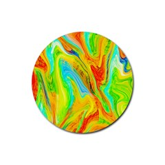 Happy Multicolor Painting Rubber Coaster (round)  by designworld65