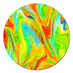 Happy Multicolor Painting Magnet 5  (round) by designworld65