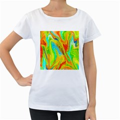 Happy Multicolor Painting Women s Loose Fit T Shirt (white) by designworld65