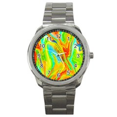 Happy Multicolor Painting Sport Metal Watch by designworld65