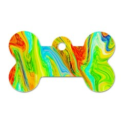 Happy Multicolor Painting Dog Tag Bone (one Side) by designworld65