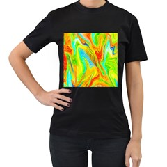 Happy Multicolor Painting Women s T Shirt (black) by designworld65