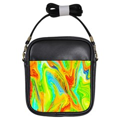 Happy Multicolor Painting Girls Sling Bags by designworld65