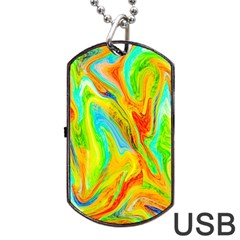 Happy Multicolor Painting Dog Tag Usb Flash (one Side) by designworld65