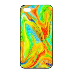 Happy Multicolor Painting Apple Iphone 4/4s Seamless Case (black) by designworld65