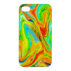 Happy Multicolor Painting Apple Iphone 4/4s Premium Hardshell Case by designworld65