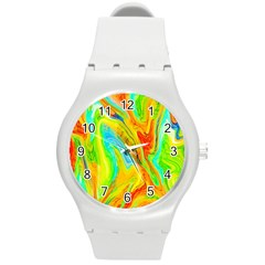 Happy Multicolor Painting Round Plastic Sport Watch (m) by designworld65