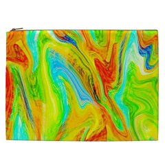 Happy Multicolor Painting Cosmetic Bag (xxl)  by designworld65