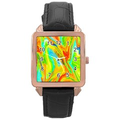 Happy Multicolor Painting Rose Gold Leather Watch  by designworld65